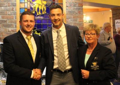 Simon Thornton of Tulfarris Hotel and Golf Resort Pro Am Winner with Paul Eivers Mens Captain and Marie Devitt Ladies Captain